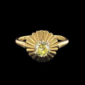 Bague diamant jaune.