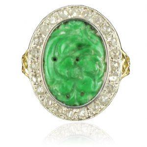 Bague ancienne jade et diamants
