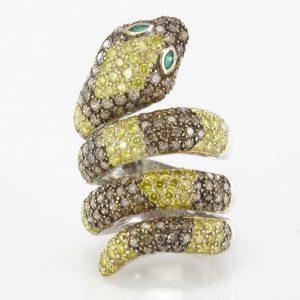Bague serpent diamants et émeraudes - Bijoux Baume
