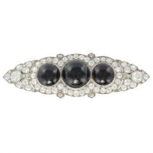 """Broche ancienne diamant et onyx - Art Déco - """"Moderne""""."""