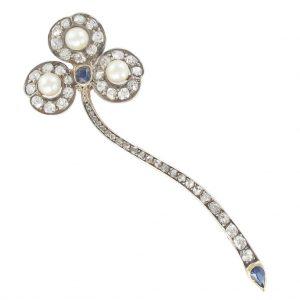 """Broche ancienne diamants, perles et saphirs - 1920 - """"Bohème""""."""