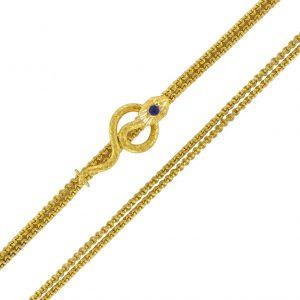 Chaine ancienne en or et son coulant serpent - Bijoux Baume