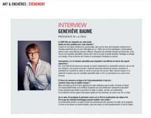 interview G.Baume dans gazette Drouot
