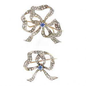 """Paire de broches anciennes saphirs et diamants - 19ème - """"Romantique""""."""