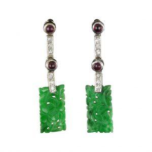 Pendants d'oreilles jade diamants rubis Création Baume