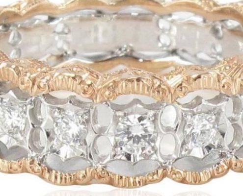 Bague diamants dentelle d'ors.