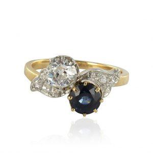 Bague toi et moi ancienne Saphir et Diamants.