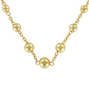Collier perles d'or et chaîne.