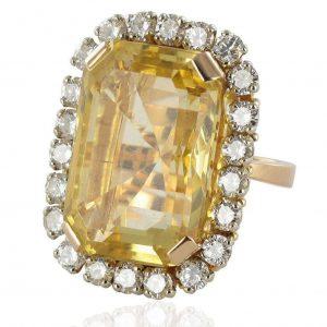 Bague vintage citrine et diamants.
