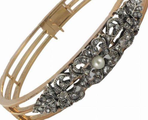 Bracelet ancien diamants et perle fine.