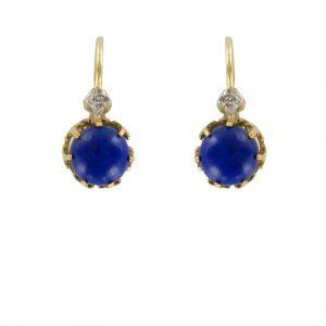 Boucles d'oreilles dormeuses Lapis Lazuli.